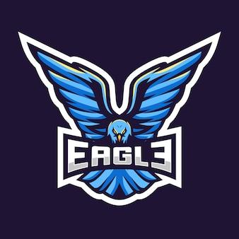 Progettazione impressionante dell'illustrazione di logo di esport di eagle