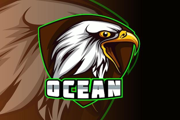 Eagle esport e sport mascotte logo design nel moderno concetto di illustrazione