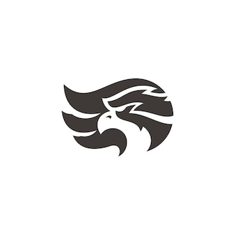 Eagle falcon head silhouette e wing illustrazione logo design