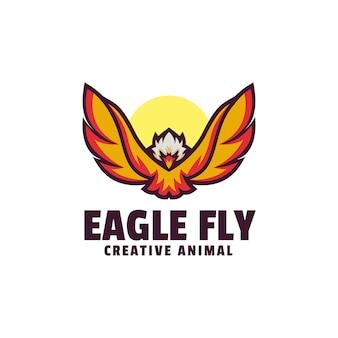 Modello di logo di eagle fly semplice mascotte stile