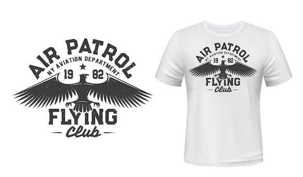 Illustrazione della stampa della maglietta del club di volo dell'aquila