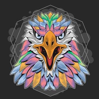 Geometria a colore pieno di eagle Vettore Premium