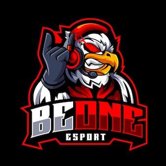 Logo mascotte arrabbiato giocatore aquila per esport e squadra sportiva