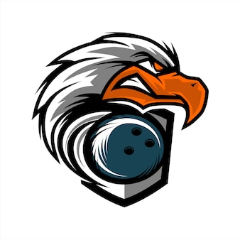 Logo eagle head bowling team
