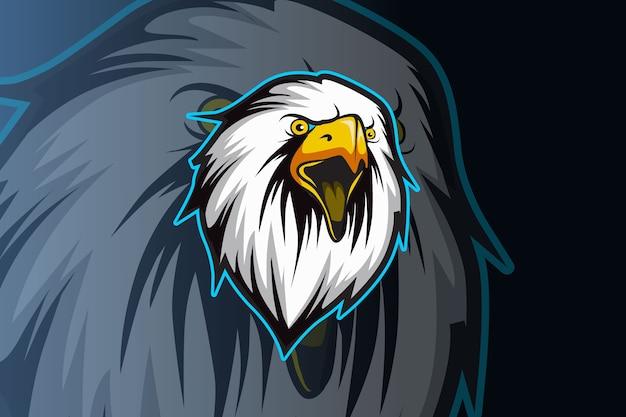 Modello di logo della squadra di e-sports testa d'aquila