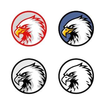 Insieme dell'illustrazione dell'icona del segno di progettazione di vettore del logo della testa dell'aquila