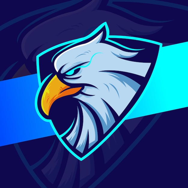 Design del logo della mascotte della testa d'aquila per giochi sportivi ed esport e