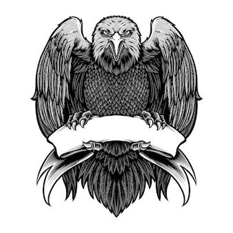 Aquila che tiene il vettore in bianco del nastro