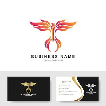 Modello di logo dell'aquila con design biglietto da visita