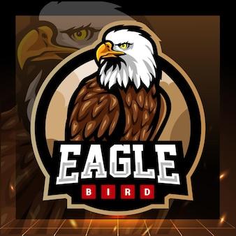 Design del logo esport della mascotte dell'aquila