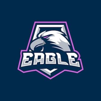 Aquila mascotte logo design illustrazione per lo sport o la squadra di e-sport