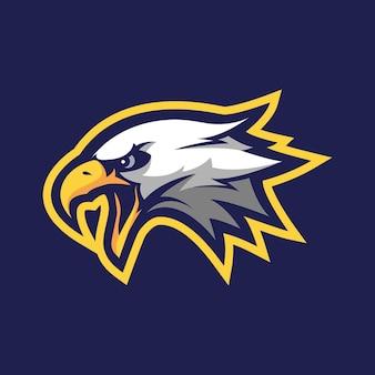 Logo della mascotte dell'aquila per lo sport o l'e-sport