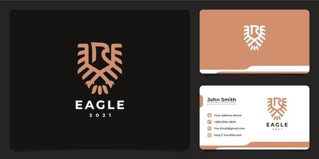 Eagle monoline logo lussuoso design e biglietto da visita