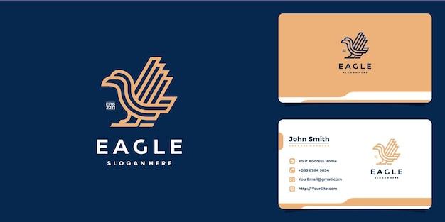 Design del logo di lusso monolinea eagle e biglietto da visita