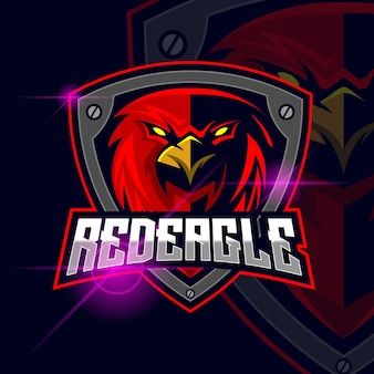 Eagle red esport logo template vector illustration