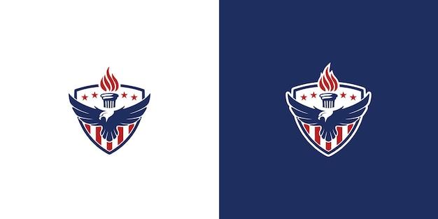 Modello di progettazione del logo dello scudo dell'aquila