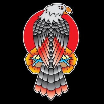Aquila tradizionale tattoo flash