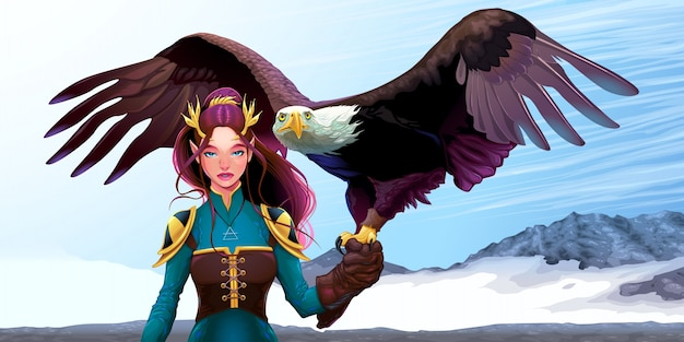Eagle trainer elfo sulle montagne illustrazione di fantasia vettoriale