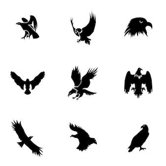 Insieme di vettore dell'aquila. semplice illustrazione a forma di aquila, elementi modificabili, può essere utilizzata nella progettazione del logo