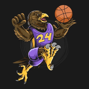 Aquila che indossa basket giocando a palla