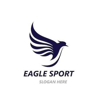 Modello di immagine vettoriale di progettazione del logo dell'ala dell'aquila