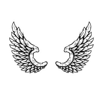 Ali d'aquila nello stile del tatuaggio isolato su priorità bassa bianca. elemento di design per poster, maglietta, carta, emblema, segno, distintivo. illustrazione vettoriale