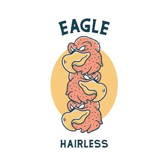 Aquila con teschio illustrazione carattere vintage design per magliette