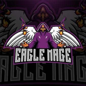 Logo della mascotte esport del mago delle aquile