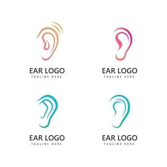 Orecchio, udito logo icona disegno vettoriale