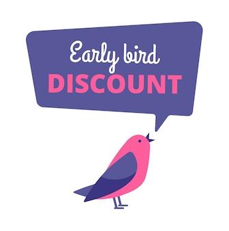 Early bird. sconto offerta speciale, banner di vendita. concetto di primi uccelli. notifica di bolla di discorso di vendita di promozione