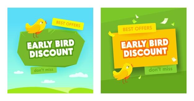 Set di banner di vendita anticipata. promozione sconto offerte speciali per affari, promozione.