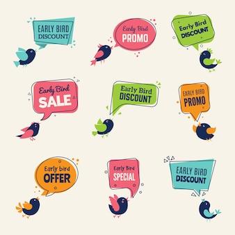 Early bird. offerte speciali badge sconti etichette con raccolta di cartelli pubblicitari uccelli.