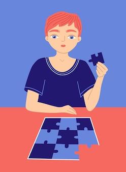 Primo segno di disturbo dello spettro autistico asd cartoon bambino gioca puzzle simbolo di autismo