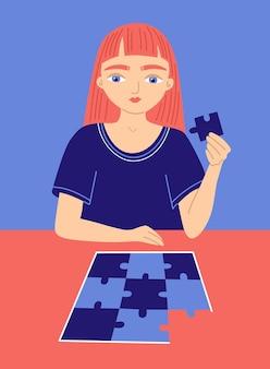 Primo segno di disturbo dello spettro autistico asd cartoon girl gioca a puzzle simbolo di autismo