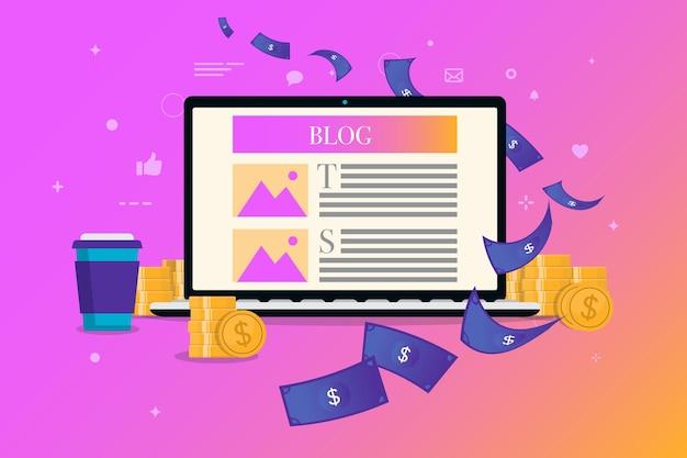 Guadagna soldi sul blog con il computer portatile