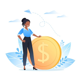 Guadagnando, risparmiando e investendo denaro, una giovane donna sta vicino a una moneta da un dollaro