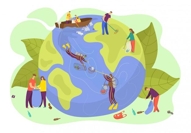 Ecologia del pianeta di terra, illustrazione, concetto di ambiente di natura e di salvataggio, protezione di cura del carattere della gente. simbolo del pianeta globo cleen, banner di conversazione persona verde.