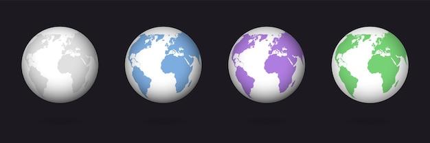Insieme del globo di colore della terra