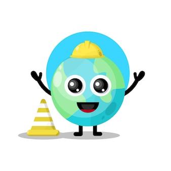 Simpatico personaggio mascotte dell'operaio edile della terra