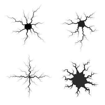 Set di earth crack. insieme isolato siluette della crepa.