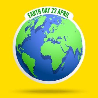 Globo della bandiera di earth day con la mappa del mondo