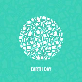 Illustrazione di vettore di inquinamento del pianeta dei rifiuti di plastica del concetto di giornata della terra intorno al globo terrestre riempito con