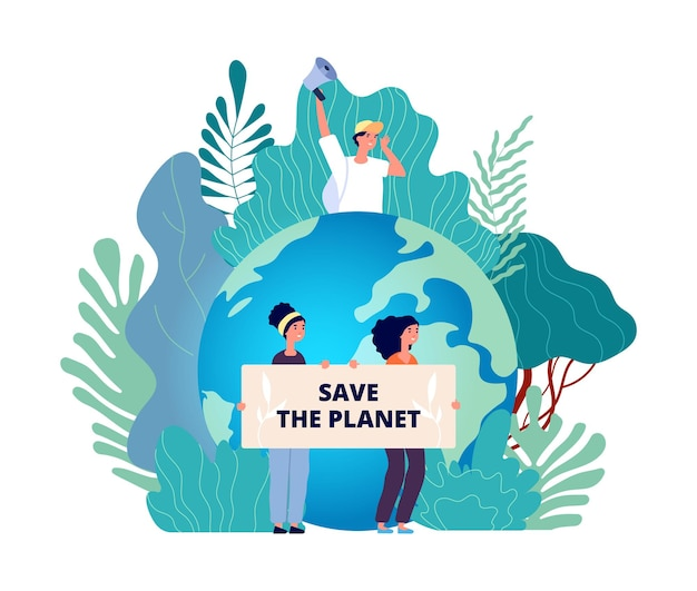 Concetto di giornata della terra. salva pianeta, gruppo con poster. natura, eco volontariato internazionale