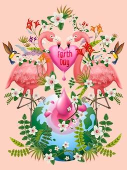 Illustrazione della giornata della terra, con uccelli, fiori e innumerevoli piante, sfondo rosa
