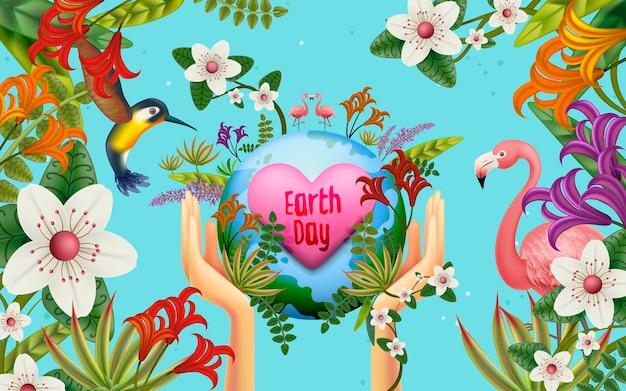 Illustrazione della giornata della terra, con terra, uccelli e innumerevoli piante