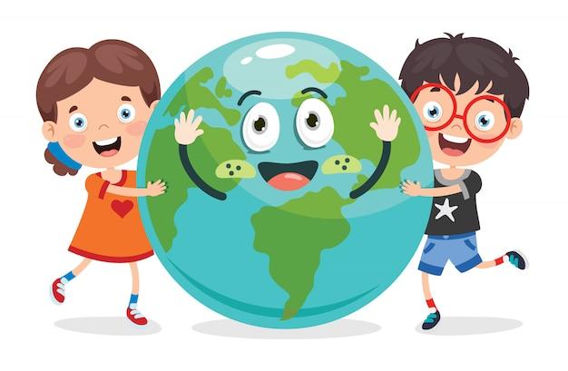 Giornata della terra con personaggio divertente