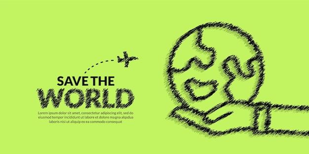 Giornata della terra con lo sfondo della terra della stretta della mano salva il concetto del pianeta terra protezione dell'ambiente ecologico