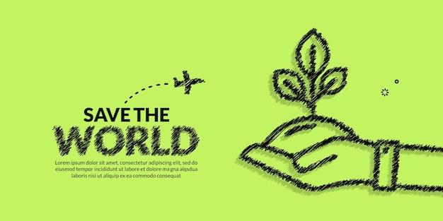 Giornata della terra con sfondo di piante da tenere in mano salva il concetto del pianeta protezione ambientale ecologica