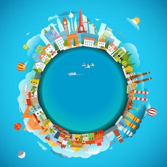 La terra e luoghi diversi. illustrazione di vettore di concetto di viaggio. copia-spazio per qualsiasi testo