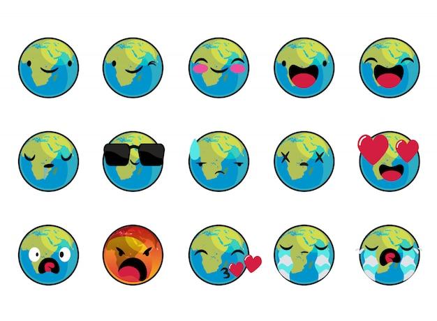Fave della terra con set di caratteri vettoriali emoticon